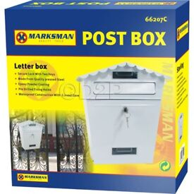 WHITE STEEL POST BOX POSTBOX LOCKABLE LETTER MAIL WALL MOUNTED NEW