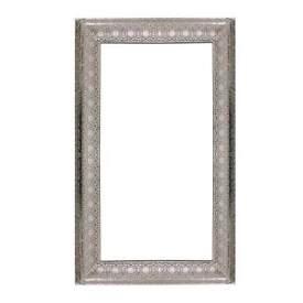 Moroccan Arabian Indian Antique Vintage Ornate Metal Framed Silver Wall Mirror