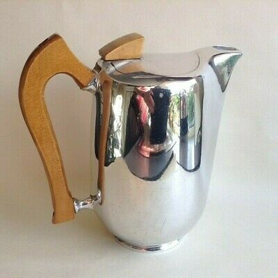 Vintage PICQUOT COFFEE POT aluminium wood art deco modernist 40s 50s 60s retro