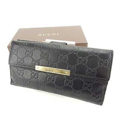 Gucci Wallet Purse Long Wallet Guccissima Black Gold Woman Authentic Used Y6336