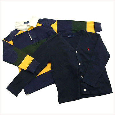 Ralph Lauren Polo shirt Cardigan Navy Green Mens Authentic Used G130