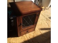 Quality solid dark oak storage cabinet