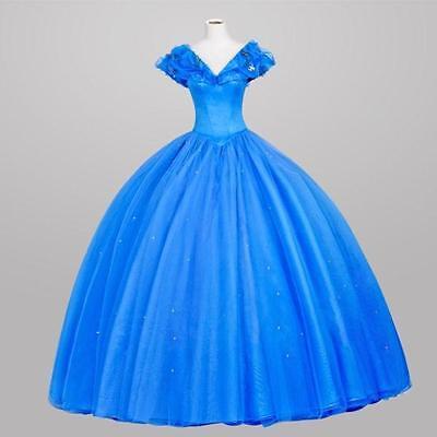 Cinderella Aschenputtel Disney Cosplay Kostüm Abend-kleid lang long Ball (Disney Satin Kostüm)