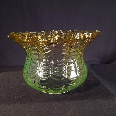 "1880's Apricot-to-Lime Green Drape Kerosene Oil Gas Early Electric 4"" Lip Shade"