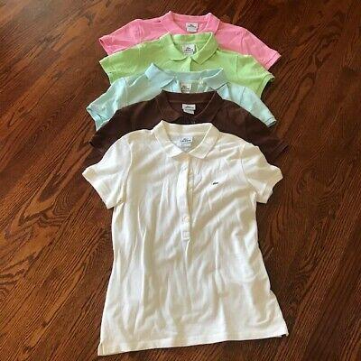 Lot 5 Women's LACOSTE Crocodile Golf Polo Shirt Short Sleeve Sz 42 L Large VGUC