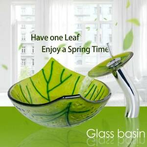 US Green One Leaf Bathroom Tempered Glass Vessel Sink Waterfall Faucet Set