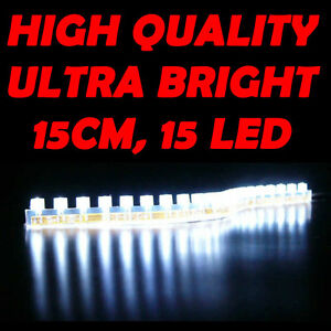 12V 15 LED White Strip Light Lazer Under Glow Sofa, Bed, Table, TV