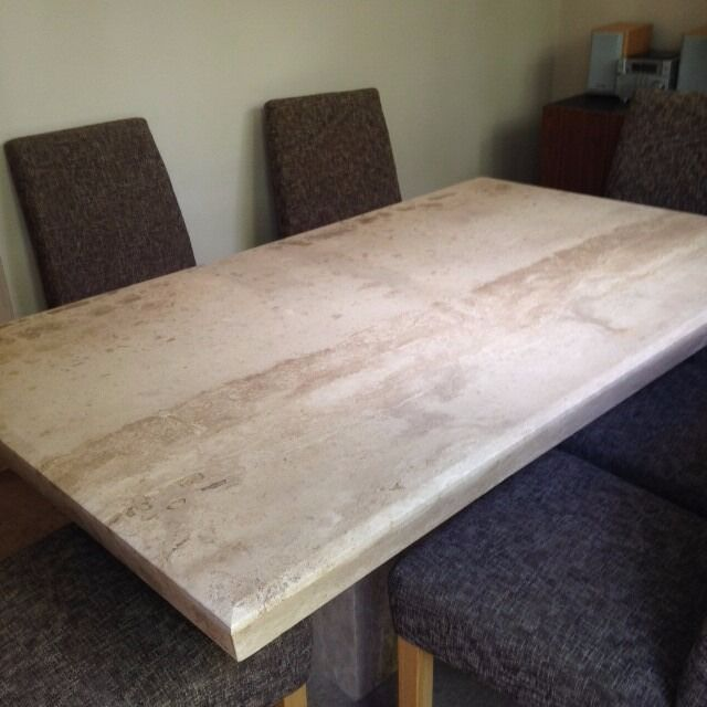 Superieur Travertine (polished Limestone) Dining Table Seats 8, Elegant, Excellent  Condition