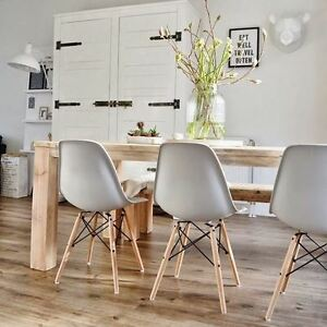 Set Of 4 Dining Chairs Inspired Charles Eames DSW Eiffel Style   Light Grey