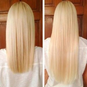 """20"""" BLONDE AND MEDIUM BROWN EXTENSIONS CLIP IN REMY HUMAN HAIR"""