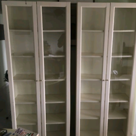 2 IKEA Billy bookcase with glass doors