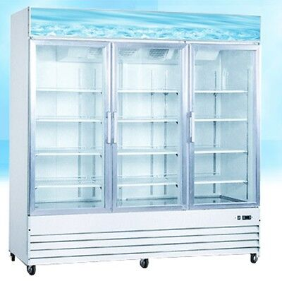 Omcan Re-cn-0052 3-door 52cf Commercial Glass Display Refrigerator Cooler New