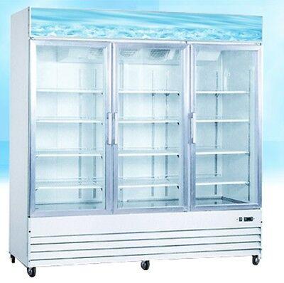 Omcan Re-cn-0052 3-door 52cf Commercial Glass Display Refrigerator Cooler New