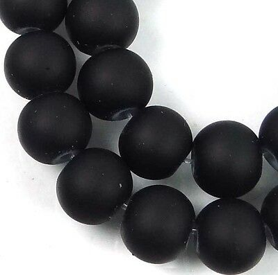 """8mm Matte Frosted Neon Rubberized Glass Round Beads -  Black 16"""""""