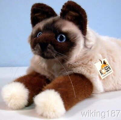 KOSEN Of Germany #4390 NEW Lying Birman Cat Plush Toy With Blue Eyes