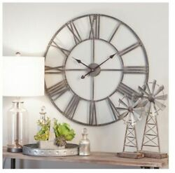 Large Round Wall Clock Modern Farmhouse Decor Round Industrial Metal 30 Inch