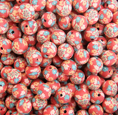 30 x Round Red Polymer Clay Bead with Mixed Colour Flower Pattern - 8mm