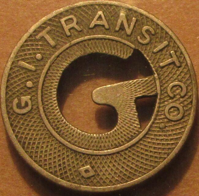 1922 G.I. Transit Co. Grand Island, NE Transit Bus Token - Nebraska Nebr.