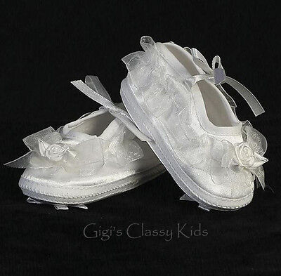 New Baby Girls White Satin & Organza Booties Dress Shoes Christening Baptism