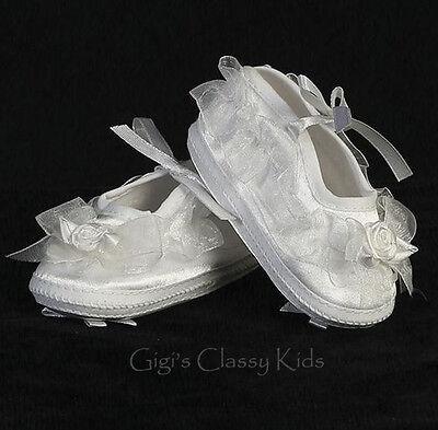 New Baby Girls White Satin & Organza Booties Dress Shoes Christening Baptism (Girls Christening Shoe)