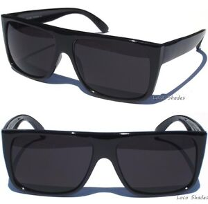 FLAT-TOP-DARK-LENS-SUNGLASSES-BLACK-FRAME-AVIATOR-WAYFARER-RETRO-SUNNIES-NEW