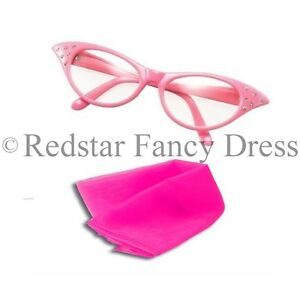 LADIES PINK GLASSES AND PINK SCARF FANCY DRESS SANDY 50'S 1950S COSTUME