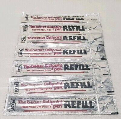 Pilot Bp-s Pen Refill Red Ink Medium Point Lot Of 7 Item Rfj-3m New