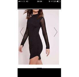 Ladies black mesh sleeve mini dress