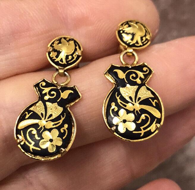 Vintage Jewellery Delightful Enamelled Damascene Pendant Drop Earrings - Pierced