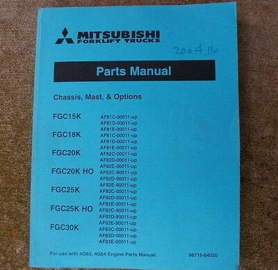 Mitsubishi Caterpillar Fgc 15182025k Forklift Parts Manual Catalog Book Lift