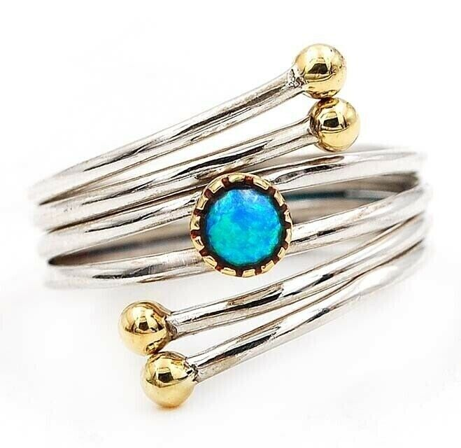 Two Tone Blue Fire Opal 925 Solid Sterling Silver Ring Jewelry Sz 8, AX8-6 - $10.99