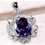 4CT Amethyst & White Topaz 925 Solid Genuine Sterling Silver Pendant Jewelry