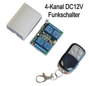 12V 4 Kanal Universal Funk Sender Empfänger Schalter Funkschalte + Fernbedienung
