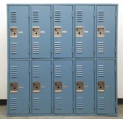 Used All-welded Blue Metal Lockers - 60w X 16d X 60th - 10 Lockers A Set