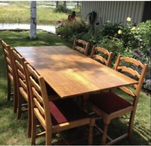 Vintage Oak Trestle Table and Six Ladder back Chairs