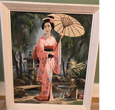 """Vintage Paint By Number (pbn) Japanese Woman Geisha Water 20""""x16"""" VG+"""