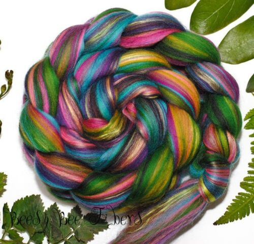 FOREST JEWELS Wool Roving Custom Blend Merino Mulberry Silk Combed Top 4 oz