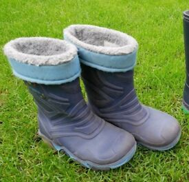 Boy's lined wellies with flashing lights