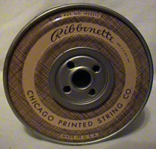 VINTAGE CHICAGO PRINTED STRING CO.  RIBBONETTE METAL SPOOL WITH RIBBON
