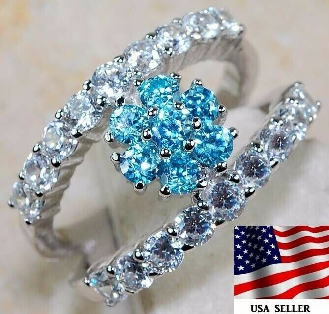 3CT Aquamarine Topaz 925 Solid Sterling Silver Ring Jewelry Sz 8, M3 - $12.99