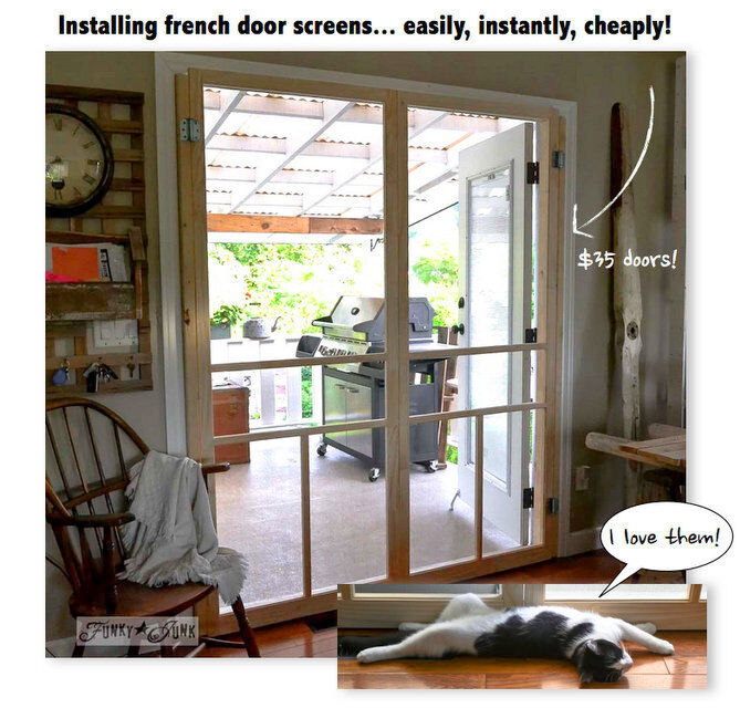 How To Build A Cheap Screen Door For French Doors / By Funky Junk Interiors  For