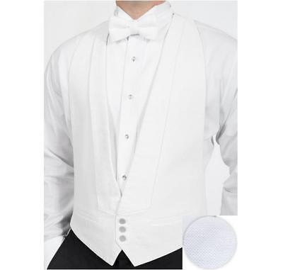 Vest With Bowtie (White Cotton Pique Tuxedo Openback(backless) Vest with White Pique)