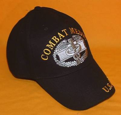 US Army Combat Medic Embroidered Military Licensed Black Cotton Ball Cap/Hat.