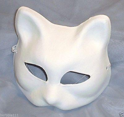 White Plain Venetian Cat Masquerade Mardi Gras - Masquerade Masks Plain