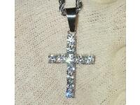 Silver Diamond Cross Pendant & Chain