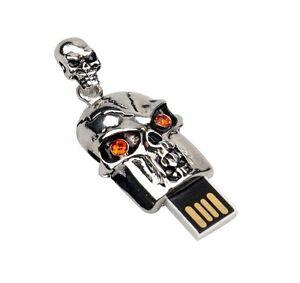 Metal skull  8GB USB 2.0 flash drive memory stick skeleton necklace pendant