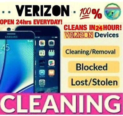 VERIZON Bad IMEI ESN Blacklist Removal Cleaning Service iPhone 6 6S Galaxy S6 S7