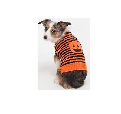 Halloween Striped Pumpkin Sweater for Dogs - XS - S - M - pumpkin face applique - Dog Faces For Halloween