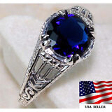 1CT Blue Sapphire 925 Solid Sterling Silver Art Deco Filigree Ring Jewelry Sz 8