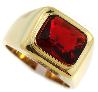 Garnet Red Stone 3.07ct 18kt Gold Plated Solitaire Mens Ring Size 8 - Garnet Red Gold Ring